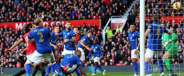 Wes Morgan's own goal puts Manchester United 3-0 up