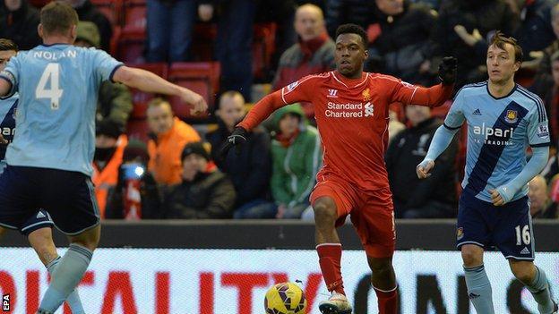 Liverpool's Daniel Sturridge in action against West Ham United