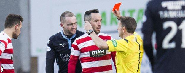 Dougie Imrie is sent off by referee Crawford Allan