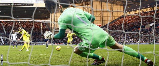 Harry Kane scores past Ben Foster from the penalty spot
