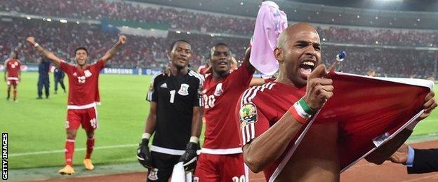 Equatorial Guinea players celebrate