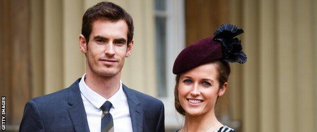 Andy Murray and fiancee Kim Sears at Buckingham Palace