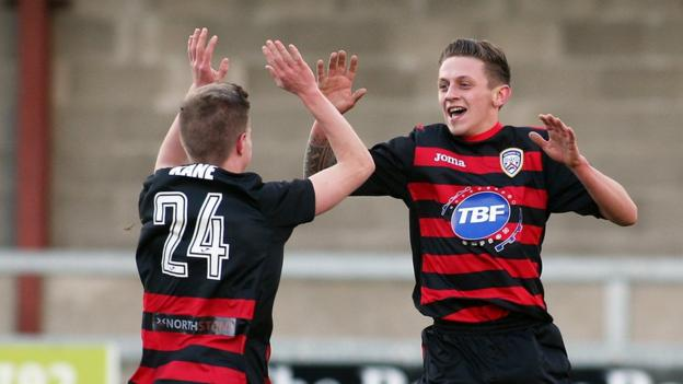 Lyndon Kane celebrates with Coleraine goalscorer Matthew Snoddy as the Bannsiders run out 2-0 victors over Institute at Drumahoe