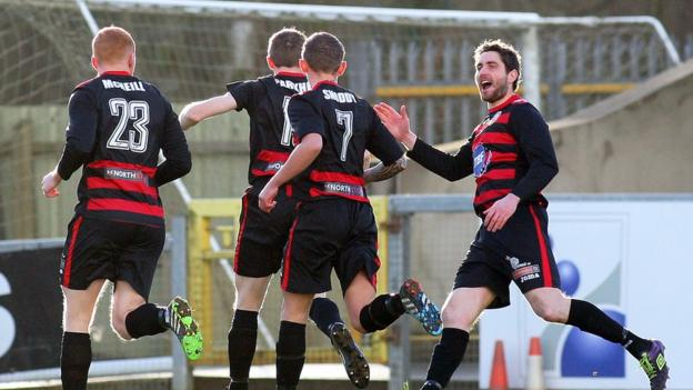 Ian Parkhill opened the scoring for Coleraine against north west neighbours Institute