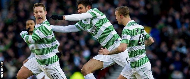 Kris Commons (left) celebrates making it 2-0 to Celtic after half an hour