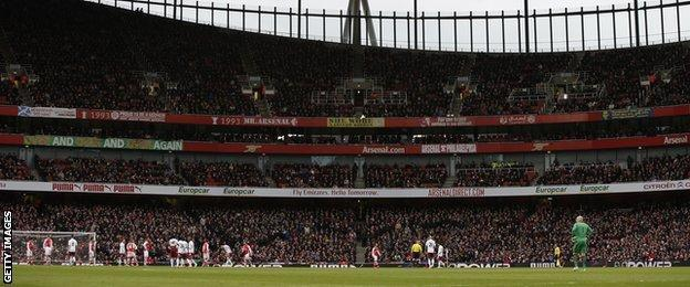Arsenal v Aston Villa at the Emirates