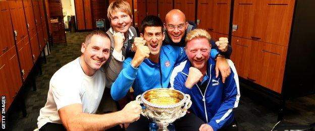 Novak Djokovic with his team