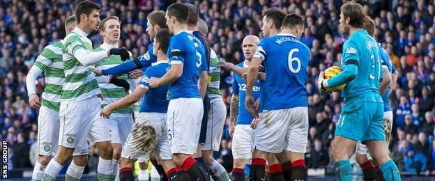 Tempers flared briefly at the end of a largely tame match at Hampden