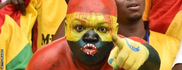 A Ghana fan makes his point during his side's 3-0 win over Guinea