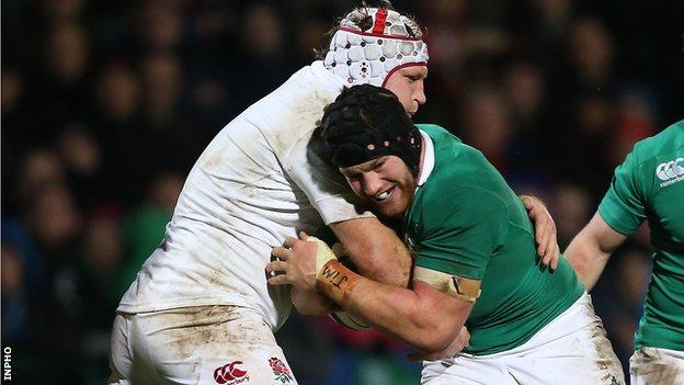 Sean O'Brien battles with Thomas Waldrom in Friday's game between Ireland Wolfhounds and the England Saxons