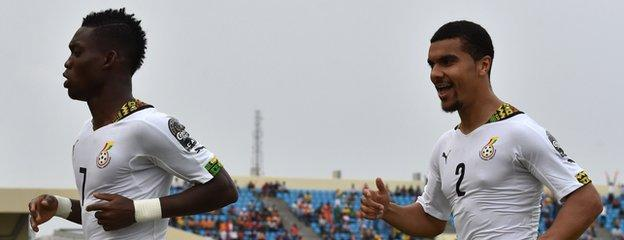 Ghana's Christian Atsu (left) and Kwesi Appiah scored a goal each to help their side reach the Afcon semi-finals