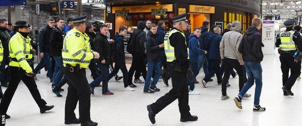 Police at Glasgow Central station