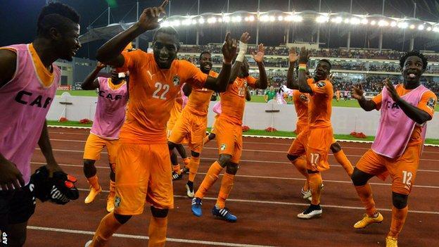 Ivory Coast players celebrate