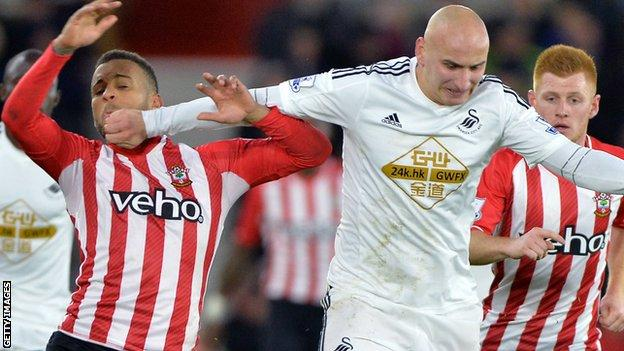 Jonjo Shelvey (R) has scored both his goals for Swansea in 2014-15 away from the Liberty Stadium against Chelsea and Southampton