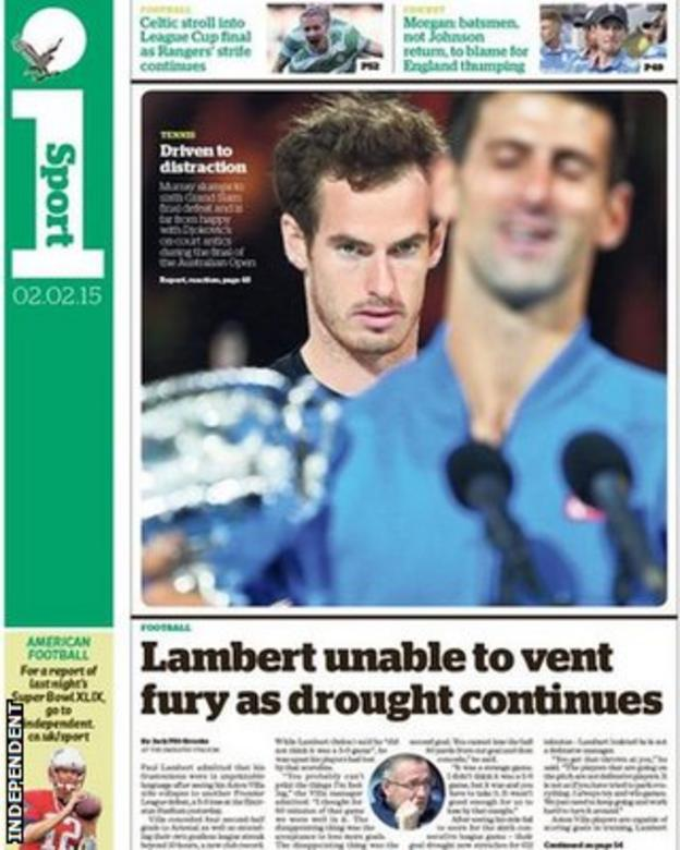 The Independent's back page on Monday