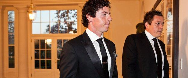 Golfer Rory McIlroy (L) and Conor Ridge arrive for a State Dinner in honor of British Prime Minister David Cameron at the White House on March 14, 2012 in Washington, DC
