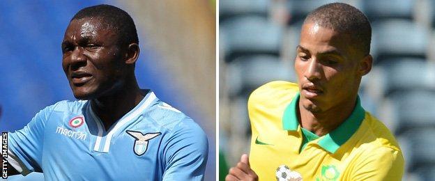 Joseph Minala and South Africa defender Rivaldo Coetzee
