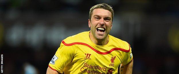 Liverpool striker Rickie Lambert