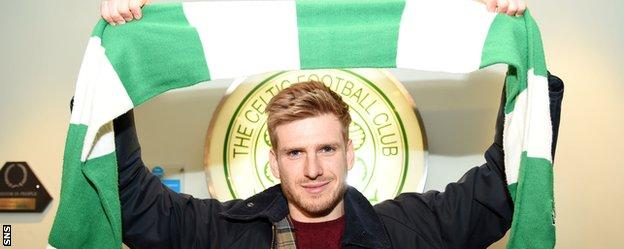 Stuart Armstrong with a Celtic scarf