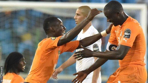 Ivory Coast's Max Gradel and Yaya Toure