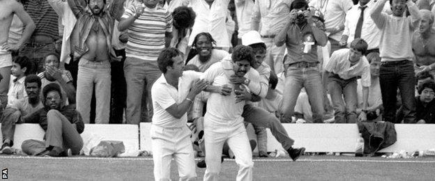 Kapil Dev is mobbed by India fans after catching Viv Richards