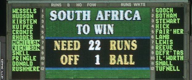 South Africa scoreboard