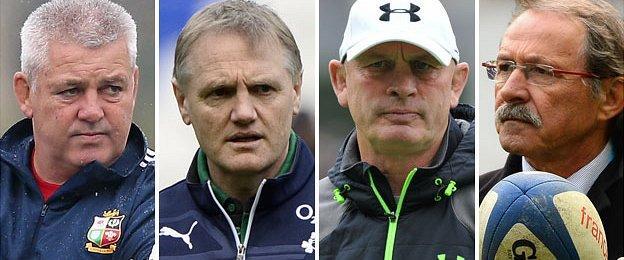 Wales coach Warren Gatland, Ireland coach Joe Schmidt, Scotland coach Vern Cotter and Italy coach Jacques Brunel