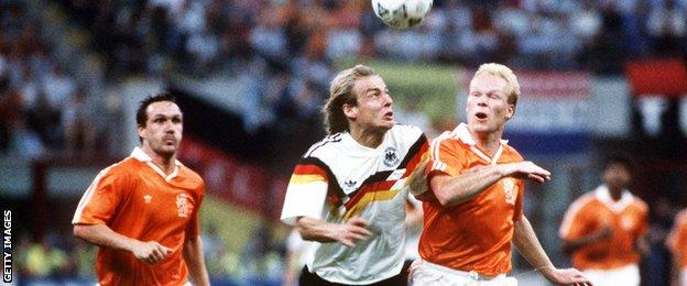 Ronald Koeman in action for Netherlands against Germany at the 1990 World Cup