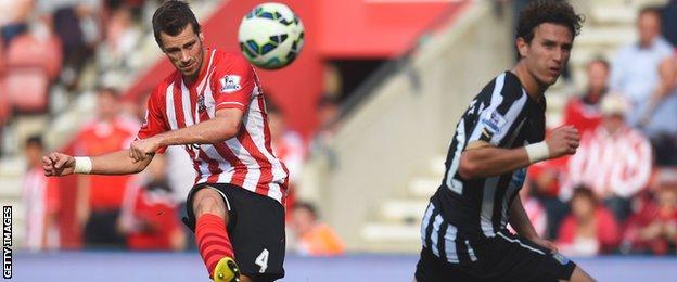 Southampton midfielder Morgan Schneiderlin scores against Newcastle in the Premier League earlier this season