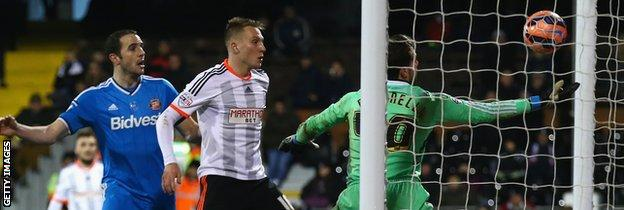 Marcus Bettinelli fumbles the ball over the line in the FA Cup game against Sunderland