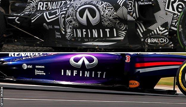Red Bull sidepod's from 2014 and 2015