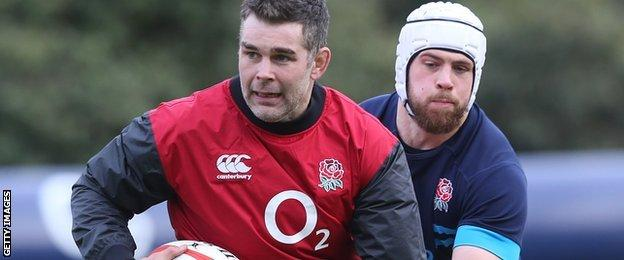 Nick Easter and Dave Attwood pictured during England training on Tuesday