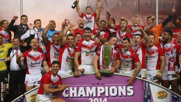 St Helens celebrate their 2014 Super League championship success