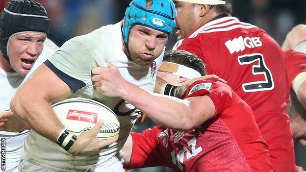 James Haskell on the attack for England against New Zealand side Crusaders in 2014