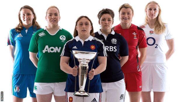 Six Nations women's captains Silvia Gaudino (Italy), Niamh Briggs (Ireland), Gayle Mignot (France), Tracy Balmer (Scotland), Rachel Taylor (Wales) and Tamara Taylor (England)