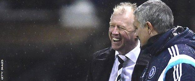 Derby head coach Steve McClaren (left) shares a joke with Chelsea manager Jose Mourinho
