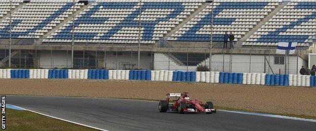 Sebastian Vettel drives during the F1 Testing at the Circuito de Jerez
