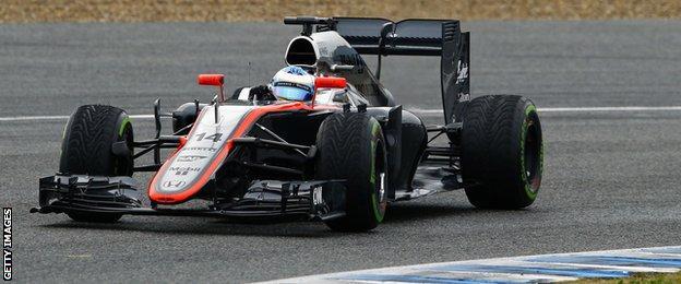 Fernando Alonso during pre-season testing at the Jerez racetrack