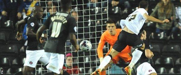 Ivan Calero scores the winner against Charlton Athletic in the League Cup second-round tie