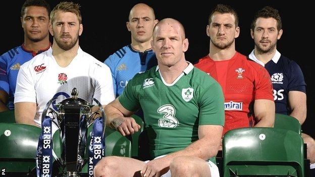 The captains of the six Six Nations countries pose with the tournament trophy
