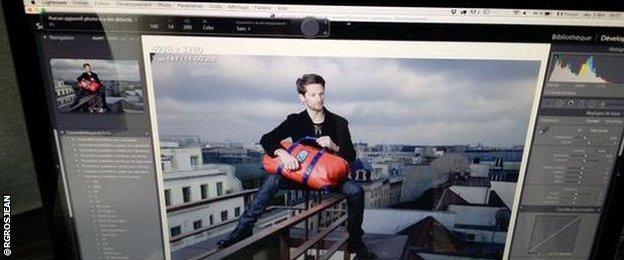 Romain Grosjean in a Paris photoshoot for sponsors