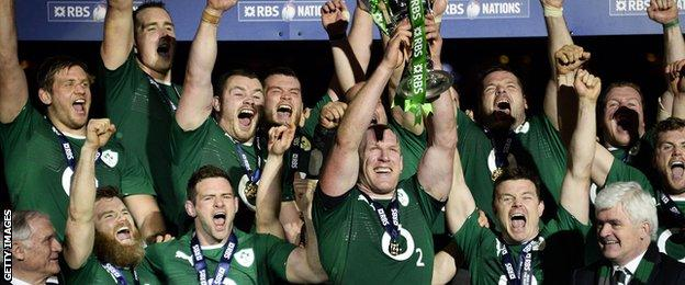 Ireland lift the 2014 Six Nations trophy