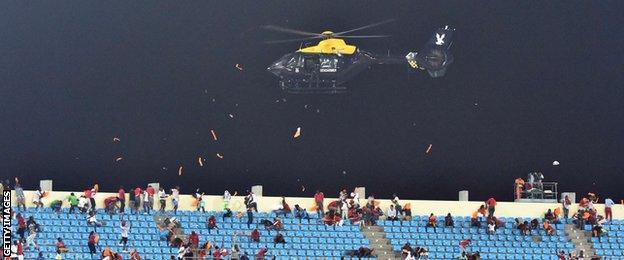 Police helicopter inside Estadio de Malabo