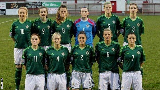Julie Nelson (wearing 5, second right, top row) has 62 caps for Northern Ireland