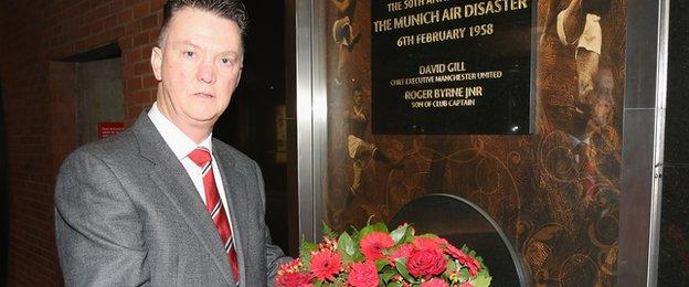 Manchester United manager Louis van Gaal lays a wreath to make the 57th anniversary of the Munich air crash