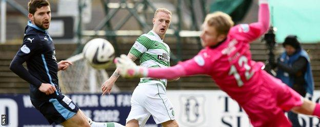 Leigh Griffiths has an effort saved