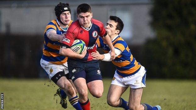 Bangor Grammar's Bryn Crawford and Charlie Blair in action as they lose 17-5 to Ballyclare High School