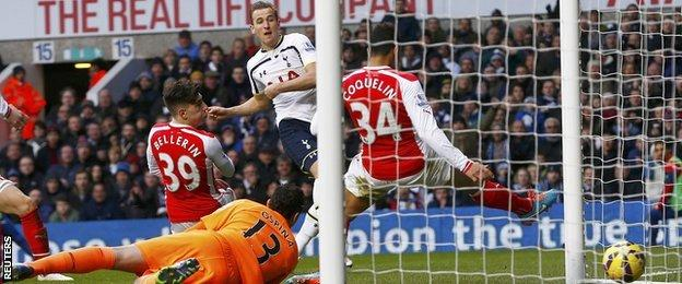 Harry Kane scores his first goal against Arsenal