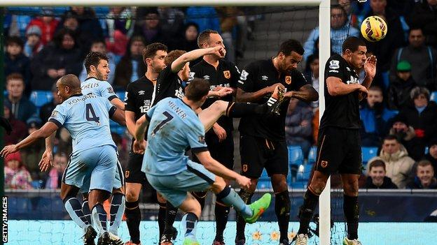 James Milner scores Man City's equaliser against Hull