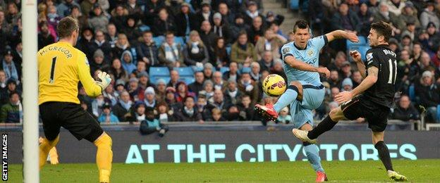 Man City striker Sergio Aguero struck the woodwork with a late shot against Hull